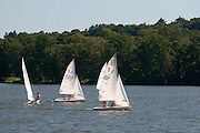Small sailboats on Lake Quannapowitt, Wakefield, Massachusetts