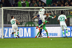 21.10.2015, Volkswagen Arena, Wolfsburg, GER, UEFA CL, VfL Wolfsburg vs PSV Eindhoven, Gruppe B, im Bild Bas Dost (#12, VfL Wolfsburg) koepft den Ball auf das Tor von TW Jeroen Zoet (#1, PSV Eindhoven) // during UEFA Champions League group B match between VfL Wolfsburg and PSV Eindhoven at the Volkswagen Arena in Wolfsburg, Germany on 2015/10/21. EXPA Pictures © 2015, PhotoCredit: EXPA/ Eibner-Pressefoto/ Hundt<br /> <br /> *****ATTENTION - OUT of GER*****