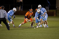 Virginia Cavaliers A Adam Fassnacht (2) in action against UNC.  The Virginia Cavaliers Men's Lacrosse Team defeated the North Carolina Tar Heels 10-9 in overtime at Klockner Stadium in Charlottesville, VA on April 7, 2007.
