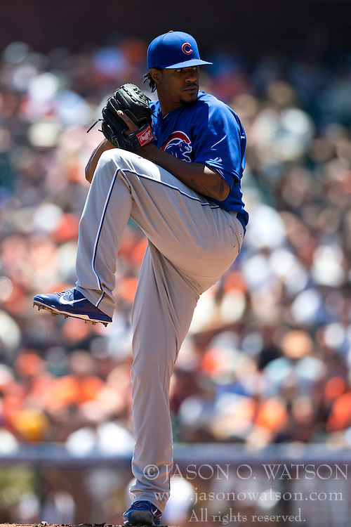 SAN FRANCISCO, CA - MAY 28:  Edwin Jackson #36 of the Chicago Cubs pitches against the San Francisco Giants during the first inning at AT&T Park on May 28, 2014 in San Francisco, California.  The San Francisco Giants defeated the Chicago Cubs 5-0.  (Photo by Jason O. Watson/Getty Images) *** Local Caption *** Edwin Jackson
