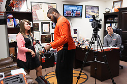 UPike student broadcast students interview Kelly Wells as part of a school project during a break in the afternoon's routine, Wednesday, Sept. 24, 2014 at the Eastern Kentucky Expo Center Pikeville. <br /> <br /> Photo by Jonathan Palmer, Special to the CJ