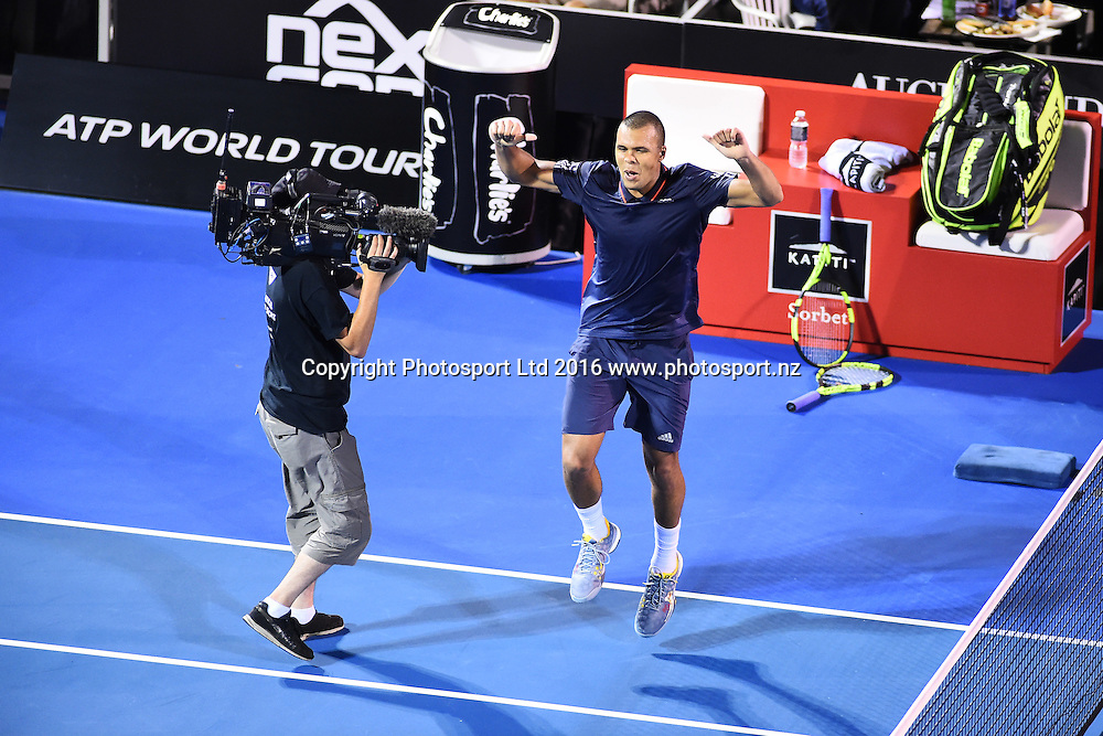 Jo-Wilfried Tsonga from France celebrates his win during Day 3 of the 2016 ASB Classic Mens. ASB Tennis Centre, Auckland, New Zealand. Wednesday 13 January 2016. Copyright Photo: Chris Symes / www.photosport.nz