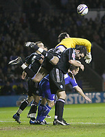 Photo: Steve Bond/Richard Lane Photography. Leicester City v Peterborough United. Coca-Cola Football League One. 20/12/2008. keeper Joe Lewis dives over a pack to punch clear