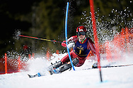 10 MAR 2012: Espen Lysdahl of the University of Denver during Men's Alpine Slalom event at the NCAA Division I Men and Women's Ski Championship held at Bridger Bowl hosted by Montana State University in Bozeman, MT. Lysdahl placed 1st to win the national title. Brett Wilhelm