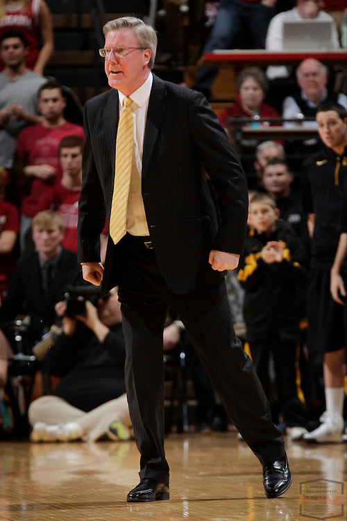 02 March 2013: Iowa Hawkeyes head coach Fran McCaffery as the Indiana Hoosiers played the Iowa Hawkeyes in a college basketball game in Bloomington, Ind.