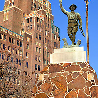WWI Doughboy Soldier Statue and Threefoot Building  in Meridian, Mississippi<br />