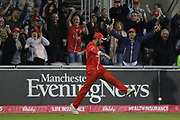 Lancashires Arron Lilley great catch in the deep during the Vitality T20 Blast North Group match between Lancashire County Cricket Club and Yorkshire County Cricket Club at the Emirates, Old Trafford, Manchester, United Kingdom on 20 July 2018. Picture by George Franks.