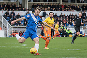 Hartlepool United striker Rhys Oates during the Sky Bet League 2 match between Hartlepool United and Wycombe Wanderers at Victoria Park, Hartlepool, England on 16 January 2016. Photo by George Ledger.