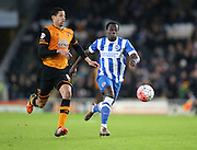 Brighton winger, Elvis Manu (19) gives chase during the The FA Cup match between Hull City and Brighton and Hove Albion at the KC Stadium, Kingston upon Hull, England on 9 January 2016.