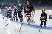 KELOWNA, CANADA - SEPTEMBER 22: The Pepsi player of the game lines up with the Kelowna Rockets during home opening ceremonies against the Kamloops Blazers on September 22, 2017 at Prospera Place in Kelowna, British Columbia, Canada.  (Photo by Marissa Baecker/Shoot the Breeze)  *** Local Caption ***