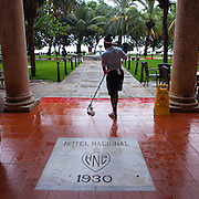 The historic luxurious Hotel Nacional de Cuba located on Taganana hill overlooking the Malecon and the ocean in the middle of Vedado, Havana, Cuba. <br /> Photography by Jose More