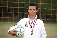(CH)David Longo, player of the Sunrise Elite U14 soccer team, poses at Flamingo park on April 12, 2012. Staff photo/Cristobal Herrera