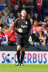 BIRKENHEAD, ENGLAND - Saturday, July 12, 2008: Liverpool's goalkeeper Martin Hansen during his side's first pre-season match of the 2008/2009 season against Tranmere Rovers at Prenton Park. (Photo by David Rawcliffe/Propaganda)