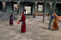 Mongolie, Province d'Arkhangai, Monastere de Tsetserleg, Moines jouant au basket // Mongolia. Arkhangai province, Tsetserleg monastery, Monks palying basketball.