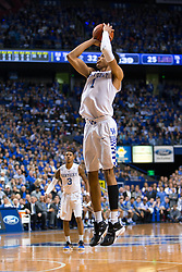 Kentucky forward Skal Labissiere shoots a pull-up jumper in the first half. <br /> <br /> The University of Kentucky hosted the LSU Tigers, Saturday, March 05, 2016 at Rupp Arena in Lexington .