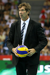 06.09.2014, Krakow Arena, Krakau, POL, FIVT WM, USA vs Frankreich, Gruppe D, im Bild Trener Laurent Tillie (FRA) // during the FIVB Volleyball Men's World Championships Pool B Match beween USA and France at the Krakow Arena in Krakau, Poland on 2014/09/06. EXPA Pictures &copy; 2014, PhotoCredit: EXPA/ Newspix/ Tomasz Jastrzebowski<br /> <br /> *****ATTENTION - for AUT, SLO, CRO, SRB, BIH, MAZ, TUR, SUI, SWE only*****