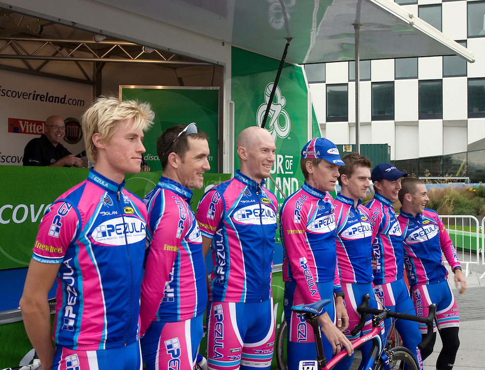Team Pezula at the Tour of Ireland Stage 1, Grand Canal Square, Dublin 2. ..L-R, Alex Wetterhall(Sweden), Ciaran Power (Ireland), Fredrik Ericsson (Sweden), Cameron Jennings (Australia), Martyn Irvine (Ireland), David O'Loughlin (Ireland) and Kieran Page (UK).