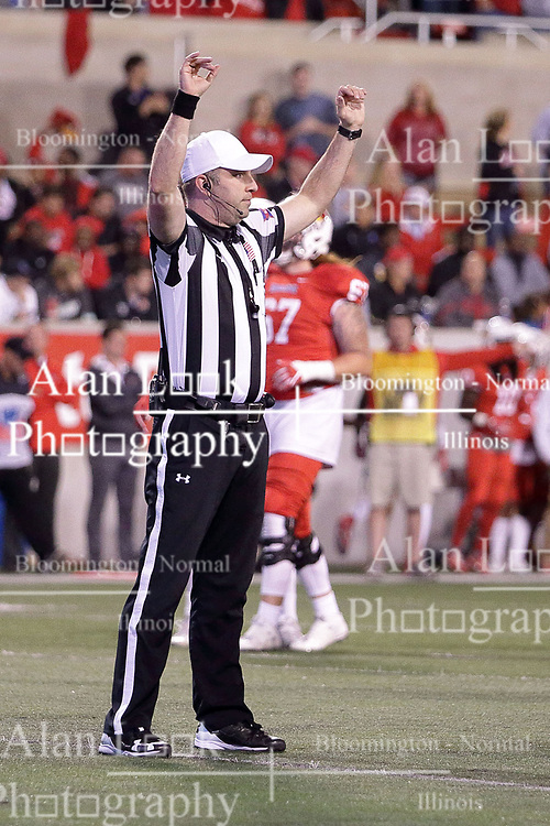 30 September 2017:   Andrew Speciale waves a signal that stops the action during the Indiana State Sycamores at Illinois State Redbirds Football game at Hancock Stadium in Normal IL (Photo by Alan Look)