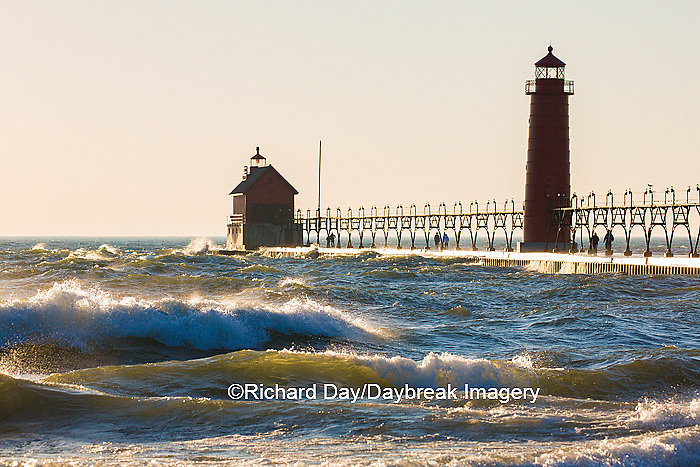 64795-01120 Grand Haven South Pier Lighthouse at sunset on Lake Michigan, Ottawa County, Grand Haven, MI
