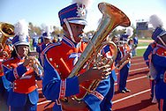 31 Oct. 2009 -- EAST ST. LOUIS, Ill. -- Musicians from the East St. Louis High School marching band perform before the start of the Flyers football game against Bradley-Bourbonnais Saturday, Oct. 31, 2009 in East St. Louis, Ill. ESLHS won the game 50-43. Photo © copyright 2009 by Sid Hastings.