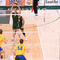 2nd year Right-Side hitter Matthew Aubrey (7) of the Regina Cougars in action during Men's Volleyball home game on February 2 at Centre for Kinesiology, Health and Sport. Credit: Arthur Ward/Arthur Images