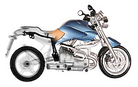 Blended x-ray image of a toy motorcycle by Jim Wehtje, specialist in x-ray art and design images.