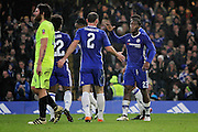 Chelsea forward Michy Batshuayi (23) celebrates with Chelsea defender Branislav Ivanovic (2) after putting Chelsea 2-0 up during the The FA Cup 3rd round match between Chelsea and Peterborough United at Stamford Bridge, London, England on 8 January 2017. Photo by Nigel Cole.