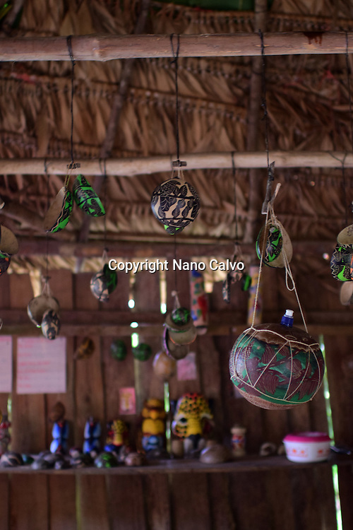 Assorted arts and crafts inside hut. <br /> <br /> A day with the Bribri, indigenous people in Lim&oacute;n Province of Costa Rica