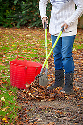 Sweeping up leaves in autumn - using leaf grabbers
