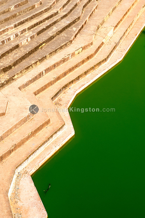 Green water in cistern in Nahargarh Fort, Jaipur, India.