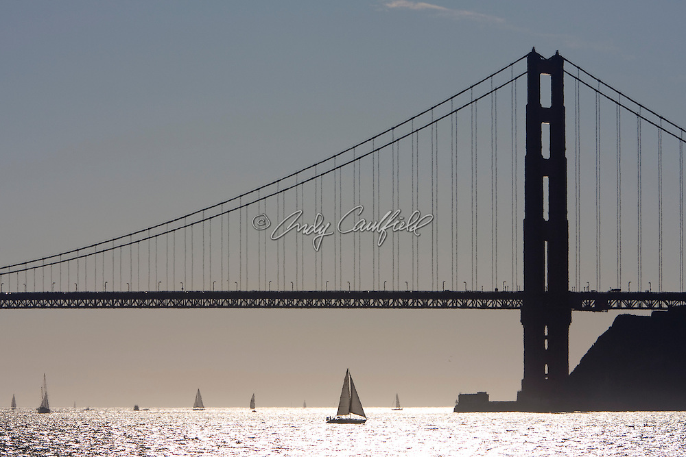 Golden Gate Bridge with sailboats-San Francisco, CA