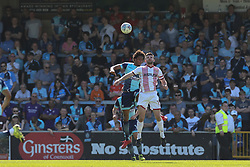 Sido Jombati of Wycombe Wanderers heads the ball under pressure from Danny Newton of Stevenage - Mandatory by-line: Jason Brown/JMP - 05/05/2018 - FOOTBALL - Adam's Park - High Wycombe, England - Wycombe Wanderers v Stevenage - Sky Bet League Two