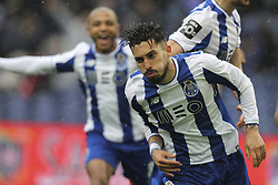 April 8, 2018 - Porto, Aveiro, Portugal - Porto's Brazilian defender Alex Telles celebrates after scoring goal during the Premier League 2017/18 match between FC Porto v CD Aves, at Dragao Stadium in Porto on April 8, 2018. (Credit Image: © Dpi/NurPhoto via ZUMA Press)