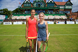 LIVERPOOL, ENGLAND - Thursday, June 15, 2017: Corinna Dentoni (ITA) and Ellie Aldrich (GBR) during Day One of the Liverpool Hope University International Tennis Tournament 2017 at the Liverpool Cricket Club. (Pic by David Rawcliffe/Propaganda)