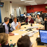 "August 29, 2014 - New York, NY : ABC News Anchor David Muir (second from left at center -- with arms on table) takes part in an editorial meeting with producers at the ""World News Tonight with David Muir"" rim  in the ABC News building on West 66th Street on Friday afternoon. David Muir is taking over for Diane Sawyer as anchor of ABC's ""World News Tonight."" CREDIT: Karsten Moran for The New York Times"
