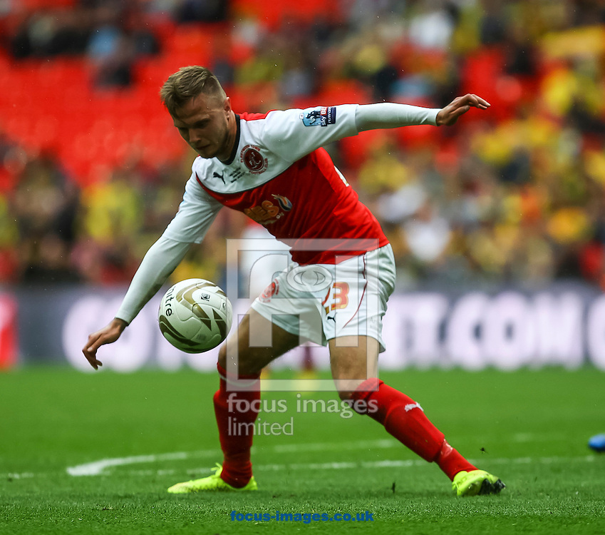 David Ball of Fleetwood Town on the ball during the Sky Bet League 2 match at Wembley Stadium, London<br /> Picture by Daniel Chesterton/Focus Images Ltd +44 7966 018899<br /> 26/05/2014