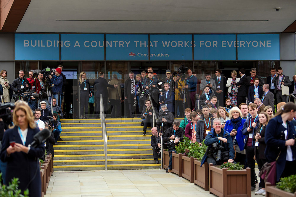 © Licensed to London News Pictures. 03/10/2017. Manchester, UK. Media and delegates wait for the arrival of British foreign secretary BORIS JOHNSON before he delivers his keynote speech on day three of the Conservative Party Conference. The four day event is expected to focus heavily on Brexit, with the British prime minister hoping to dampen rumours of a leadership challenge. Photo credit: Ben Cawthra/LNP