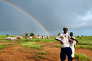 Shepherds grazing their animals under a rainbow that stretches over a green landscape during the rainy season in the Sahel. The precipitation that the short rainy season provides is essential for renewing the pasture lands that the region's traditional pasturalist population depends on for their livestock and livelihoods.<br />