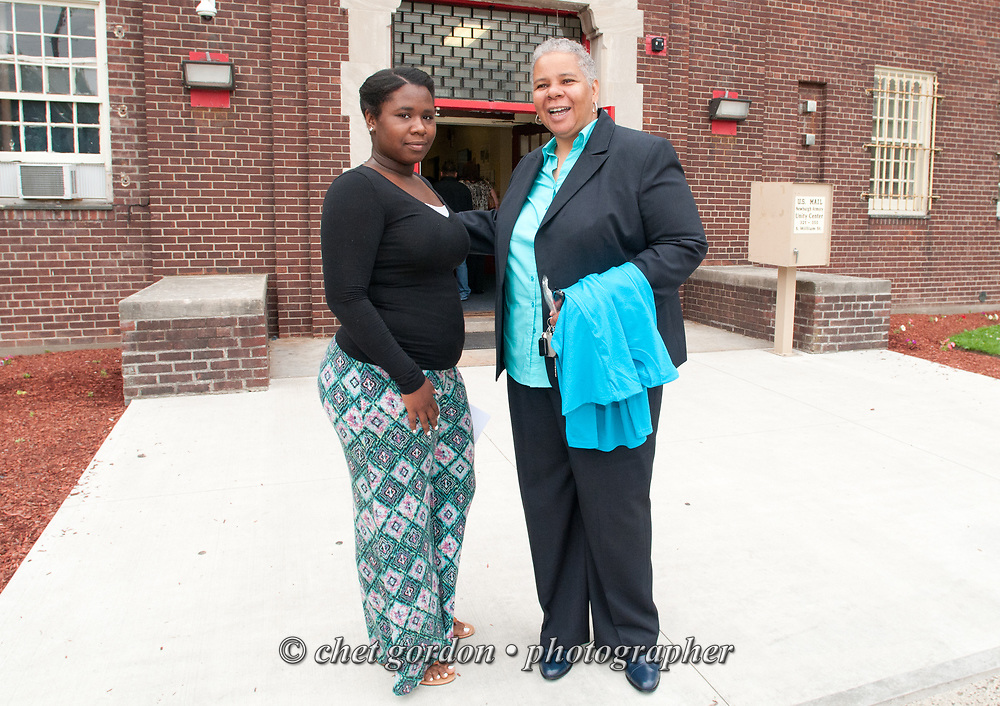 Newburgh City Councilwoman Gay Lee greeted job seekers and employers during the Newburgh Job Fair at the Newburgh Armory Unity Center in Newburgh, NY on Tuesday June 16, 2015. Councilwoman Lee is a co-sponsor of the daylong event.  © Chet Gordon • Photographer