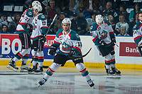KELOWNA, CANADA - APRIL 7: Dillon Dube #19 of the Kelowna Rockets stretches on the ice against the Portland Winterhawks on April 7, 2017 at Prospera Place in Kelowna, British Columbia, Canada.  (Photo by Marissa Baecker/Shoot the Breeze)  *** Local Caption ***