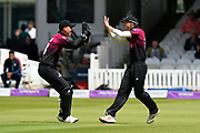 Wicket - George Bartlett of Somerset celebrates taking the catch to dismiss Gareth Berg of Hampshire off the bowling of Jamie Overton of Somerset during the Royal London 1 Day Cup Final match between Somerset County Cricket Club and Hampshire County Cricket Club at Lord's Cricket Ground, St John's Wood, United Kingdom on 25 May 2019.