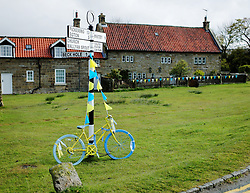 (c) Licensed to London News Pictures. <br /> 28/04/2017<br /> Goathland, UK<br /> <br /> Goathland prepares for the Tour de Yorkshire cycling race to pass through on Stage 1 of the three stage race.<br /> <br /> Photo Credit: Ian Forsyth/LNP