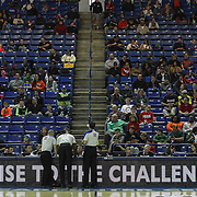 NBA D-league officials #22 Tyler Ford, #20 Sir Allen Conner and #58 AJ Desai review a play in the second half of a NBA D-league regular season basketball game between the Delaware 87ers and the Rio Grande Valley Vipers (Houston Rockets) Saturday, Dec. 27, 2014 at The Bob Carpenter Sports Convocation Center in Newark, DEL