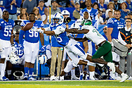 Kentucky Wildcats wide receiver Bryce Oliver (85), left,  has a pass just slip out of his hands during the first half at Kroger Field in Lexington, Ky., Saturday, Sept. 7, 2019.