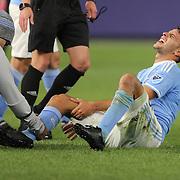 Federico Bravo, NYCFC, is treated for an injury during the New York City FC Vs Orlando City, MSL regular season football match at Yankee Stadium, The Bronx, New York,  USA. 18th March 2016. Photo Tim Clayton