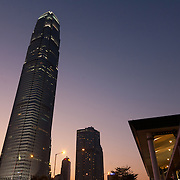 Two International Finance Centre seen from the harbour side.  7 million people live on 1,104km square, making it Hong Kong the most vertical city in the world.
