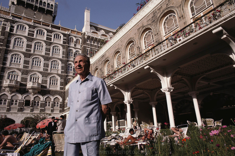 J.R.D. Tata, one-time head of the Tata family empire, at his Taj Mahal Hotel in Bombay, India.  Died November, 1993. (Model Released).