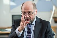 27 FEB 2017, BERLIN/GERMANY:<br /> Martin Schulz, SPD, desig. Parteivorsitzender und Kanzlerkandidat, waehrend einem Interview, in seinem Beuro, Willy-Brandt-Haus<br /> IMAGE: 20170227-01-014
