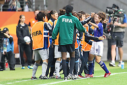 13.07.2011, Commerzbank Arena, Frankfurt, GER, FIFA Women Worldcup 2011, Halbfinale,  Japan (JPN) vs. Schweden (SWE), im Bild.Torjubel / Jubel  Nahomi Kawasumi (Japan) nach dem 1:1.. // during the FIFA Women´s Worldcup 2011, Semifinal, Japan vs Sweden on 2011/07/13, Commerzbank Arena, Frankfurt, Germany.   EXPA Pictures © 2011, PhotoCredit: EXPA/ nph/  Mueller       ****** out of GER / CRO  / BEL ******