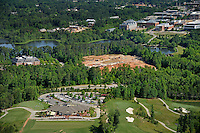 Aerial of Lonnie Poole Golf Course, looking towards Park Alumni Center, StateView Hotel construction and the rest of Centennial Campus.
